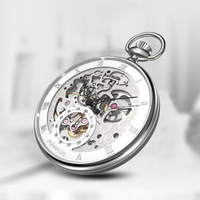Retro Hollow Mechanical Pocket Watch Men's Fashion Wall Charts Roman Scale Dial Customized Gifts Custom Watch Relogio Masculino