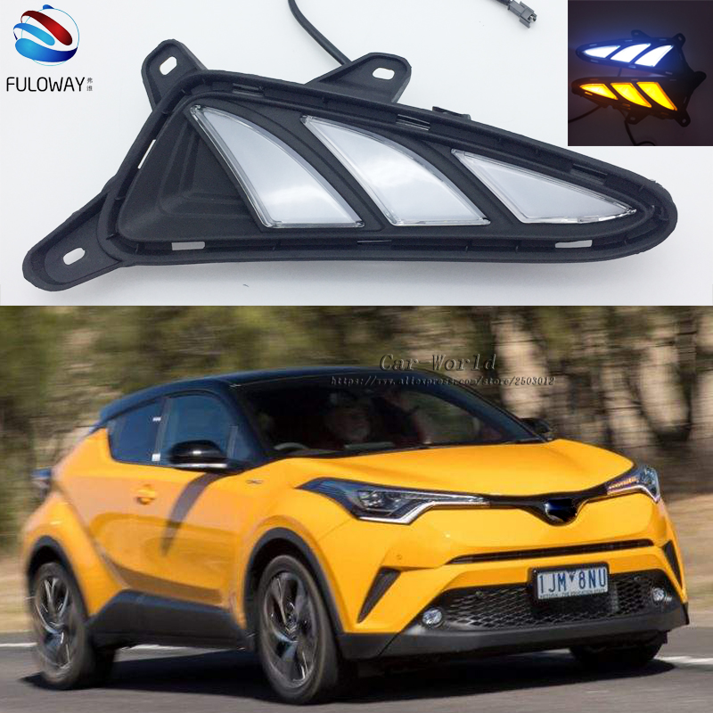 LED DRL Daytime Running Lights Fog Lamp For Toyota CHR C HR 2016 2017 Turning Signal External Day Light Accessories Car-styling akd car styling led drl for toyota reiz 2012 2013 mark x eye brow light led external lamp signal parking accessories