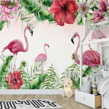 beibehang Custom Photo Wallpaper Mural Hand Painted Medieval Tropical Flamingo Plant Wall papel de parede wall papers home decor