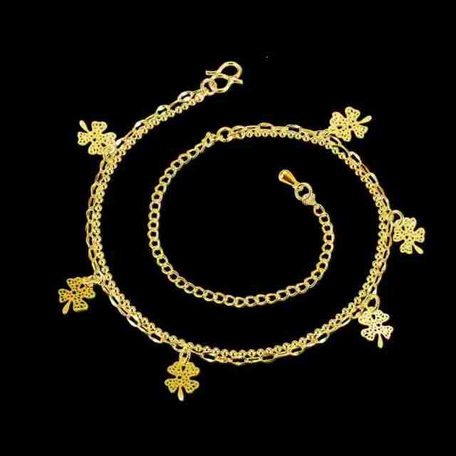 Gold Plated Multiple Flower Charms Anklet