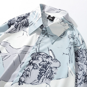 Image 3 - Mannen Hip Hop Losse Shirt Streetwear Tekens Print Hawaiian Shirt Oversized Zomer Herfst Harajuku Tops Met Lange Mouwen Dunne