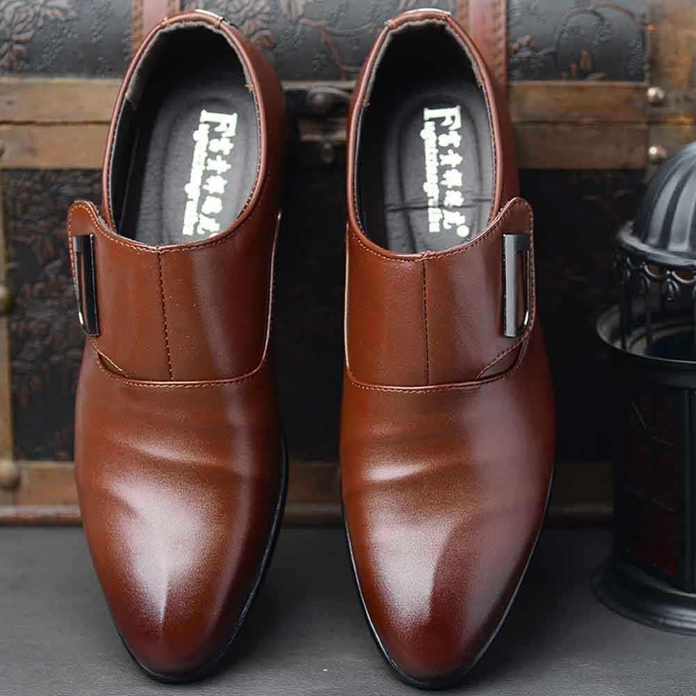 2018 Zapatos de vestir de hombre planos clásicos de cuero PU con punta tallada italiano Formal Oxford talla grande 38-47 para invierno Dec4