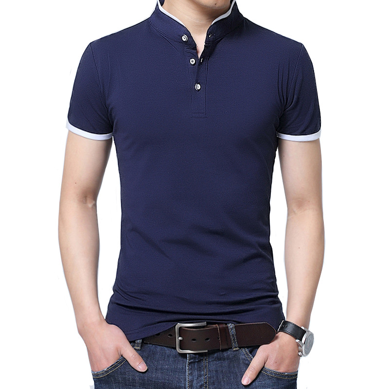 Short-sleeved   polo   shirt men's stand collar 2019summer fashion slim simple urban contrast color cotton Tops breathable stitching