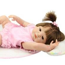 Full Soft Silicone 23 Inch Reborn Lifelike Dolls Realistic Newborn Babies Princess Boneca Toy Children Birthday Xmas Gift