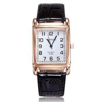 Luxury Brand Lady Watches Women Red White Antique Rectangle Casual Leather Analog Quartz Dress Clock Saat Relogio Feminino