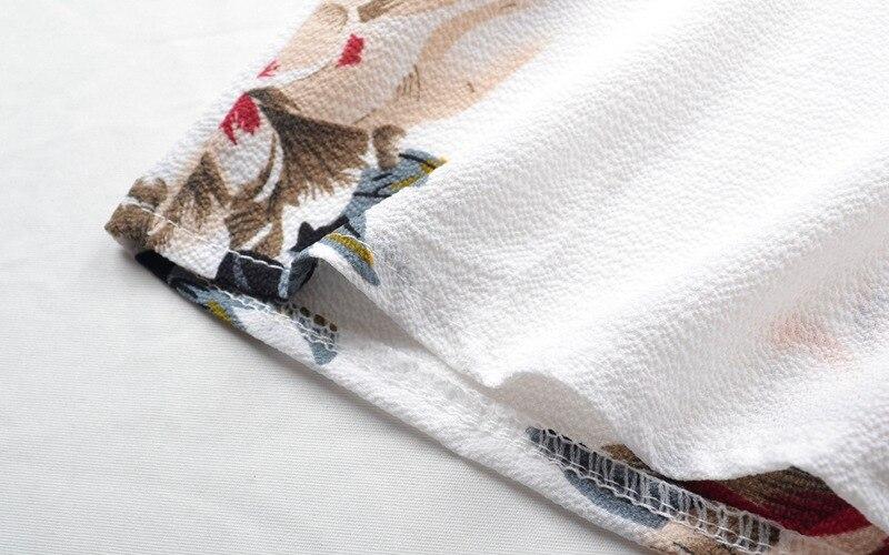 Femmes bretelles robe imprimer Sexy été plage bord de mer vacances irrégulièrement fendu blanc mousseline de soie dentelle irrégulièrement coupe grande taille - 6