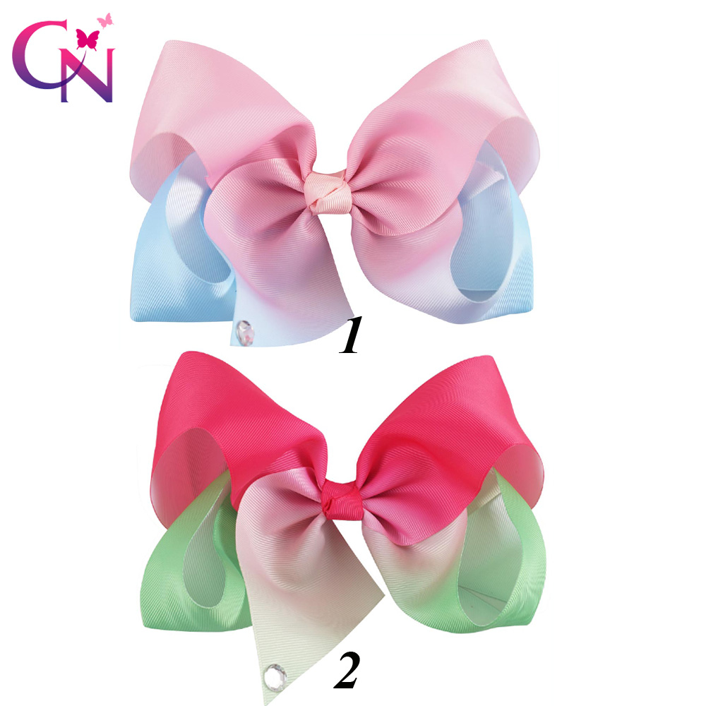10 Pieces/lot 7 Ombre Hair Bows With Diamond Tail For Kids Girls Handmade Large Ribbon Bows Hair Clip Hair Accessories