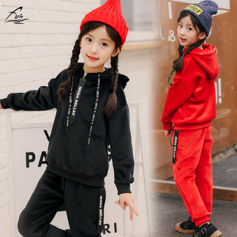 FYH Kids Clothes Autumn Winter Girls Pleuche Sports Suit Children Clothing Set 2pcs Hooded Sweatshirt+Pants Thicken Velvet Set 2016 new fashion autumn winter boy two pieces suit thicken children tops pants suit leisure hooded kids clothes hl0856