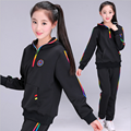 120-180 Hooded  Sport Suits Girls Clothing Set Fashion Striped 2 Pieces Twinset Set Clothing for girls black dark blue gray