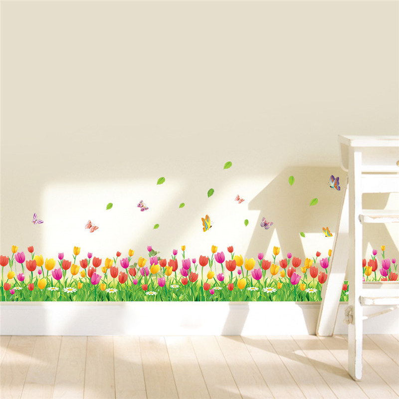 Wonderful Garden Tulip flower Butterfly wall Stickers DIY 3d Wall Decal Home decor Livin ...
