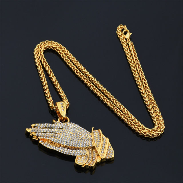 Online shop mcsays hiphop jewelry stainless steel praying hands full mcsays hiphop jewelry stainless steel praying hands full cz bling gold color pendant link chain necklace for menwomen gifts 3gm mozeypictures Choice Image