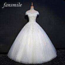 Fansmile foto Real de encaje de lujo vestidos de boda de bola 2020 personalizado de talla grande Vintage Vestido de novia FSM 075F