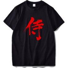 Samurai T shirt Kanji UE Tamanho 100% Algodão Character Letra Vermelha Estilo Japonês Harajuku Personalidade T-shirt de Manga Curta