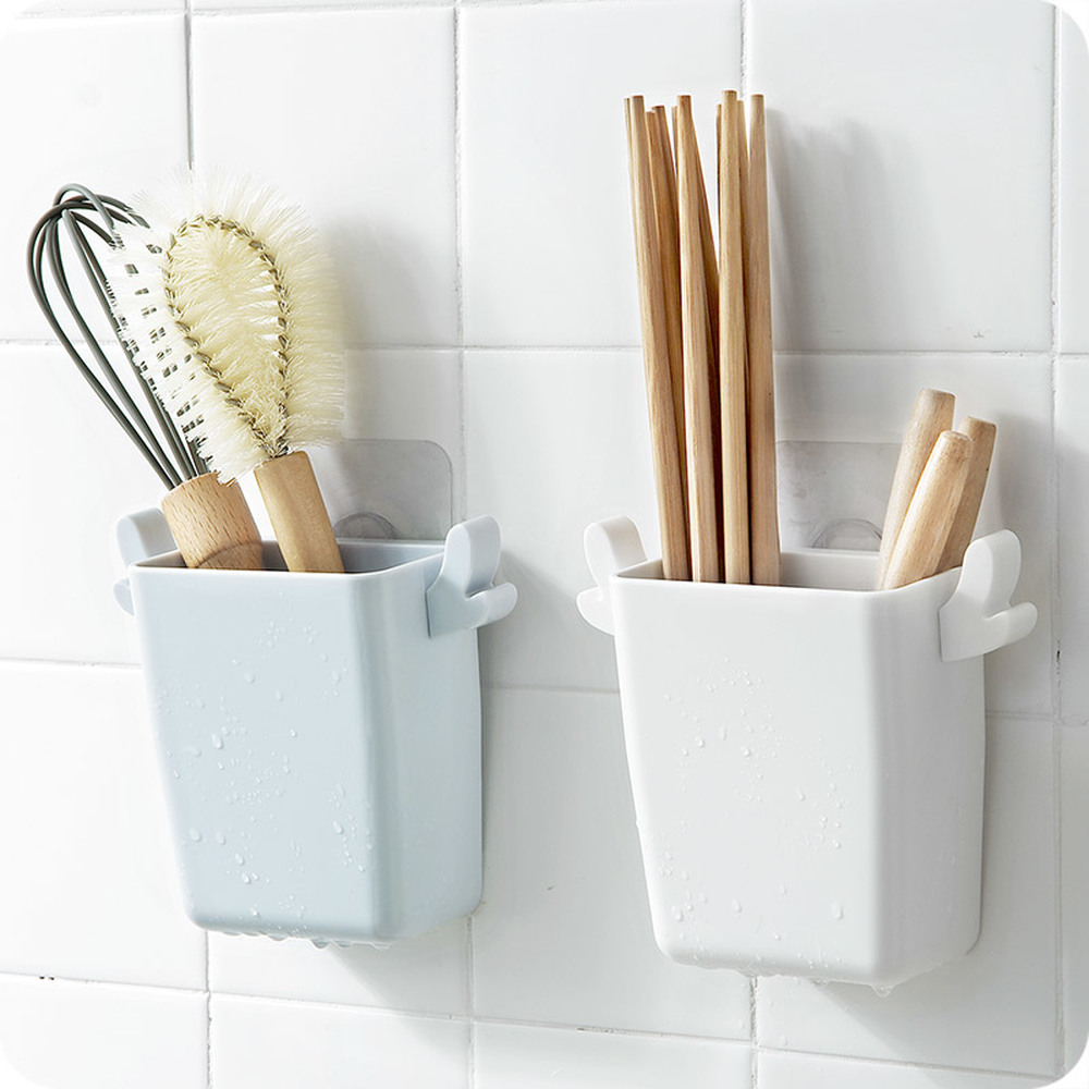 Kitchen punch-free storage rack Plastic cutlery storage box with hooks bathroom rack sponge drain rack wx8301713