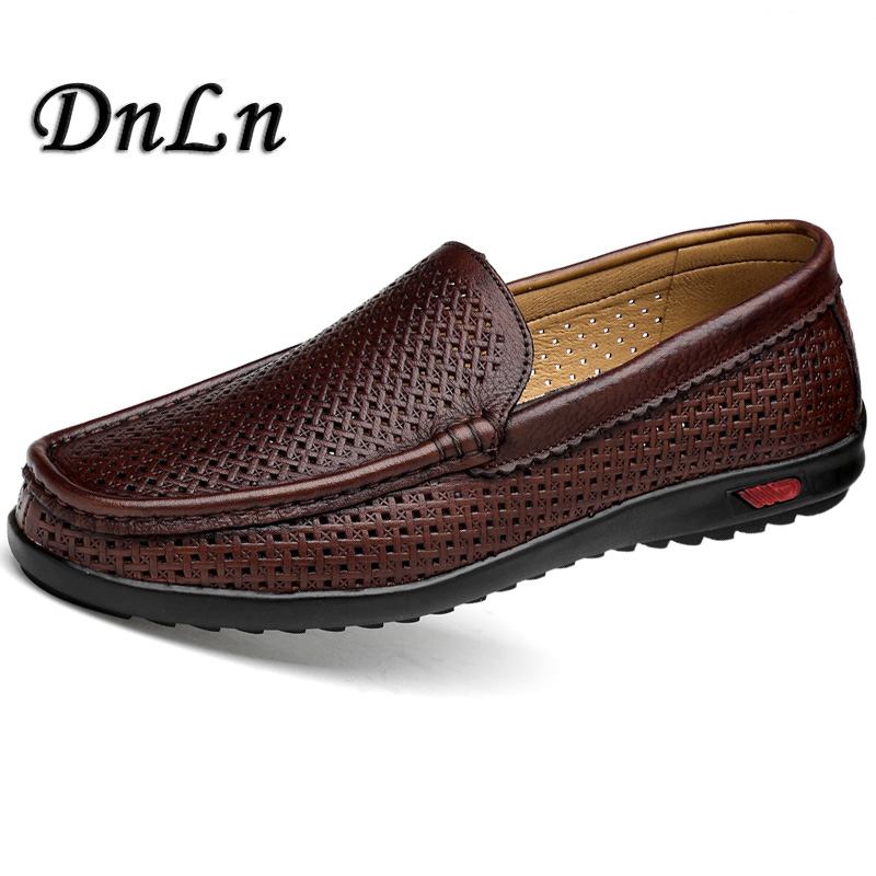 Spring Summer Breathable Hollow Shoes Men Loafers Luxury Brand Italian Fashion Casual Men'S Boat Leather Slip On Moccasins D30 ceyue handmade leather men shoes casual luxury brand men loafers fashion breathable driving shoes slip on stylish flat moccasins