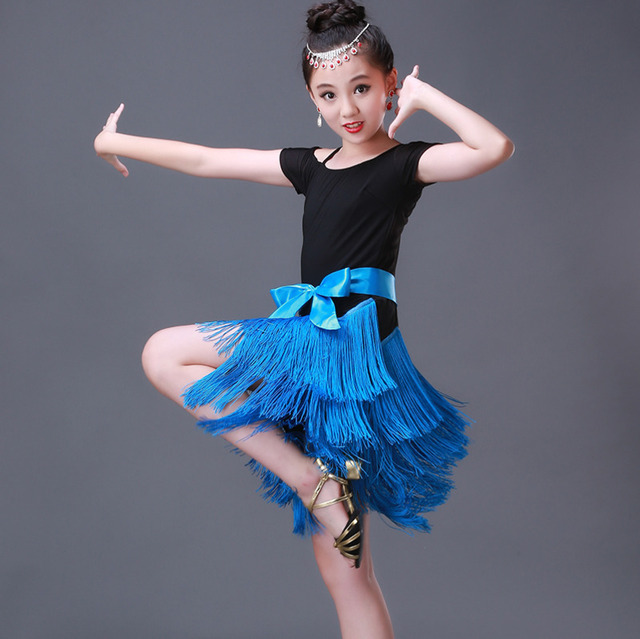 35f16213c0a52 tassel latin dance dress for girls salsa kids dresses competition spandex children  samba tango salsa costume ballroom cha cha