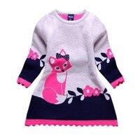 Детская одежда для малышей платье-свитер с длинными рукавами и принтом лисы теплая зимняя праздничная одежда для девочек Disfraz/От 2 до 7 лет пр...