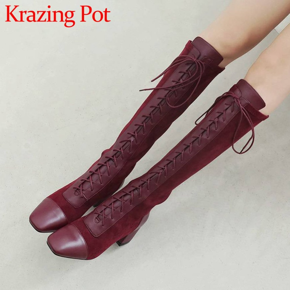 Beauty girls sexy classic square toe high thick heels real cow leather plus size popular knight