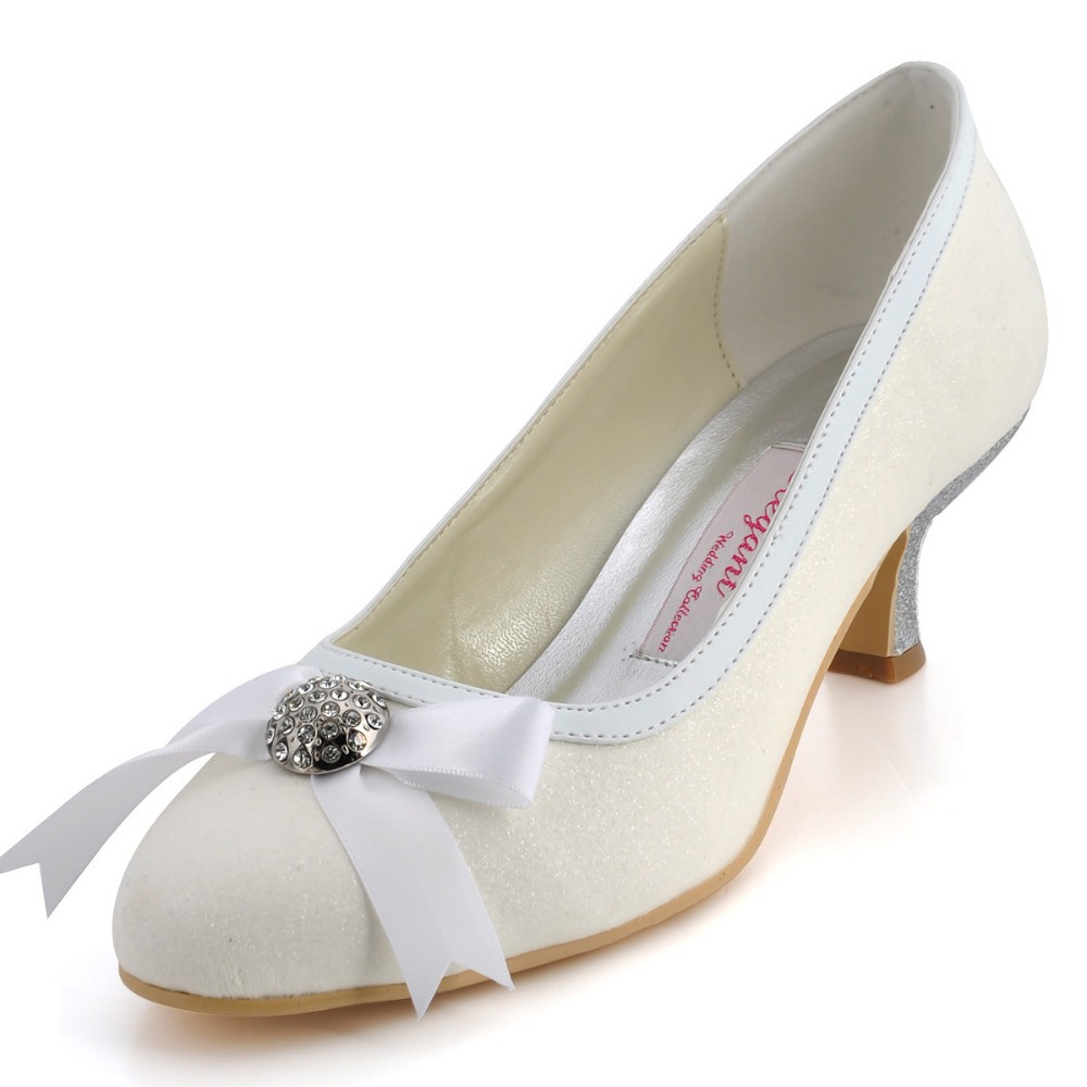 "Fashion Shoes A316 Ivory Silver 2"" Low Heel Glitter PU"