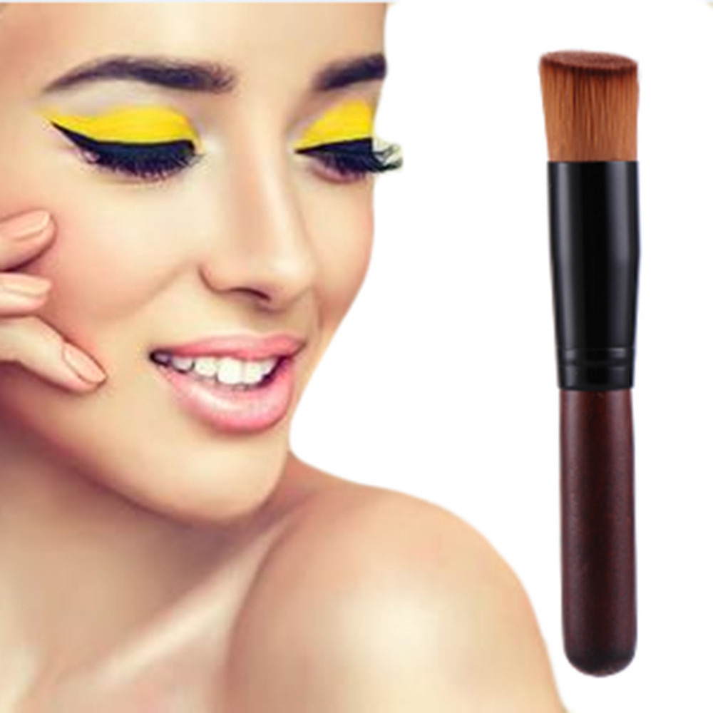 1pc Large Portable High-grade Natural Dark Wooden Handle Oblique Head Foundation makeup brush Universal Brush Makeup Tools