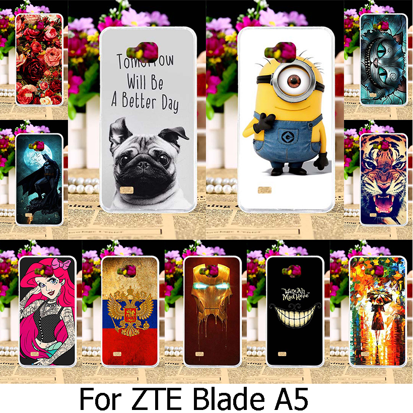 Soft TPU Silicone Painted Phone Case For ZTE Blade AF3 A3/ZTE Blade A5 A5 pro AF 3 C341 T221 4.0 inch Case Mobile Phone Cover