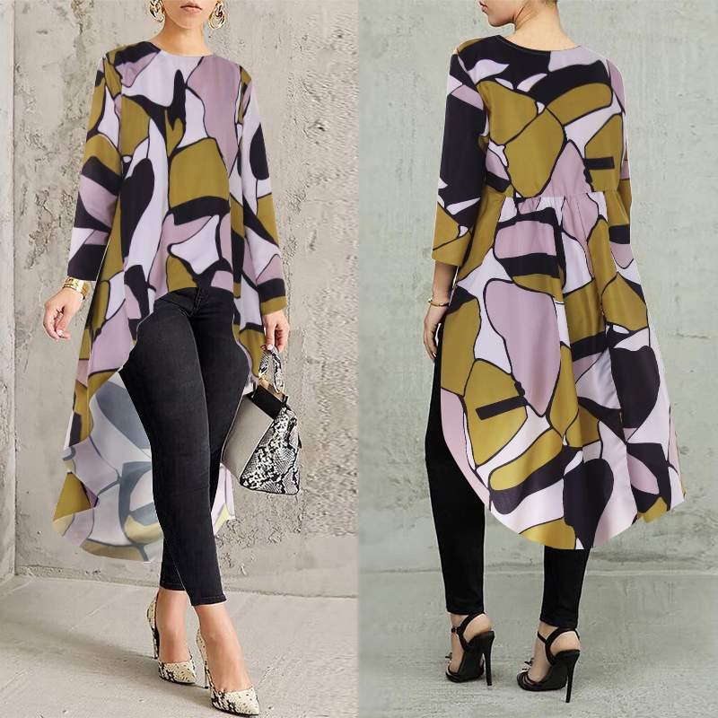 Plus Size Women's Print Blouse Asymmetrical Tops ZANZEA 2019 Stylish Long Chemise Female Casual Swallowtail Blusas Woman Tunic
