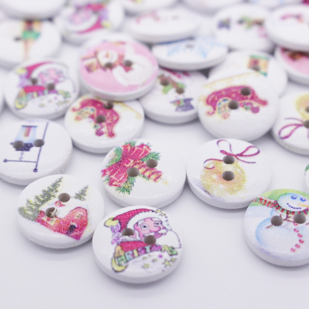 Us 3 37 15 Off Christmas Buttons Sewing Buttons Crafts Scrapbooking Decorations Cartoon Printing Wooded Button 2 Holes Christmas Wooded Buttons In