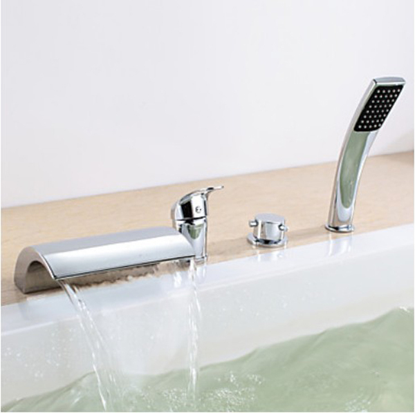 Chrome Finish Widespread Waterfall Tub Faucet Dual Handle Mixer Tap Hand Shower thermostatic valve mixer tap w hand shower tub spout tub faucet chrome finish