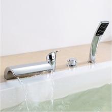 Chrome terminer généralisée cascade robinet de baignoire double poignée mitigeur douche à main