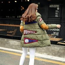 New 2016 Winter Jacket Women Military Print Parkas Duck Down Loose Coat Medium Long Pathchwork Plus Size Overcoat Snowear