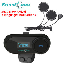 FreedConn TCOM-SC BT Interphone Motorcycle Helmet Wireless Bluetooth Headset Intercom with LCD FM Radio Soft Microphone