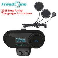 FreedConn TCOM SC BT Interphone Motorcycle Helmet Wireless Bluetooth Headset Intercom with LCD FM Radio Soft Microphone