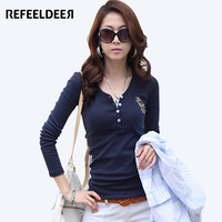 Womens Long Sleeve Tops 2015 New Fashion Embroidery Letter Tshirt Women Casual V Neck Cotton T
