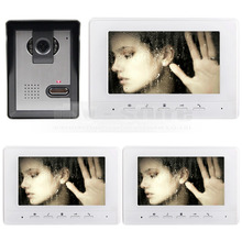 DIYSECUR 800×480 de 7 pulgadas Teléfono Video de La Puerta de Intercomunicación de Vídeo 1 Cámara de 3 Monitores para Casa/Oficina De Seguridad Del Sistema blanco