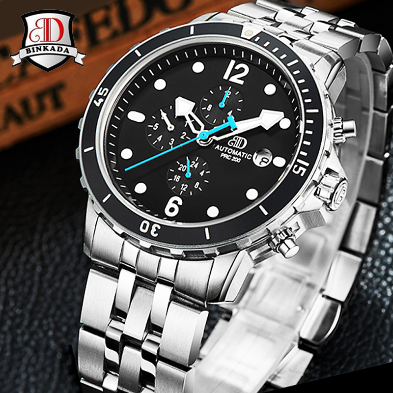 Sport automatique affaires hommes mécanique décontracté montre lunette militaire multifonction montre-bracelet Hombre horloge Relogio Masculino