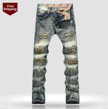 Осень синий ретро сломанные отверстие нищий патч мужские джинсы джинсовые брюки одежда персонализированные люксовый бренд свободного покроя эластичные брюки