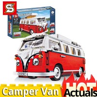 SY 1174 Camper van T1 compatible lepining legoINGs CREATOR 10220 car model set Building blocks bricks Christmas education toys