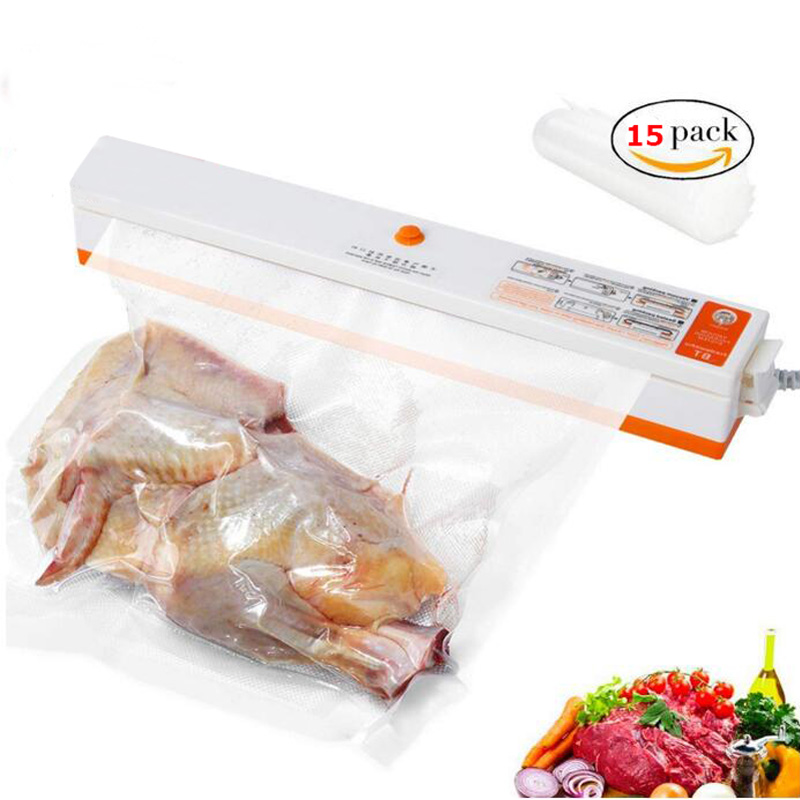 Household Vacuum Food Sealer Machine Vacuum Packing Machine Film Container Food Sealer Saver Include 15Pcs Bags FreeHousehold Vacuum Food Sealer Machine Vacuum Packing Machine Film Container Food Sealer Saver Include 15Pcs Bags Free