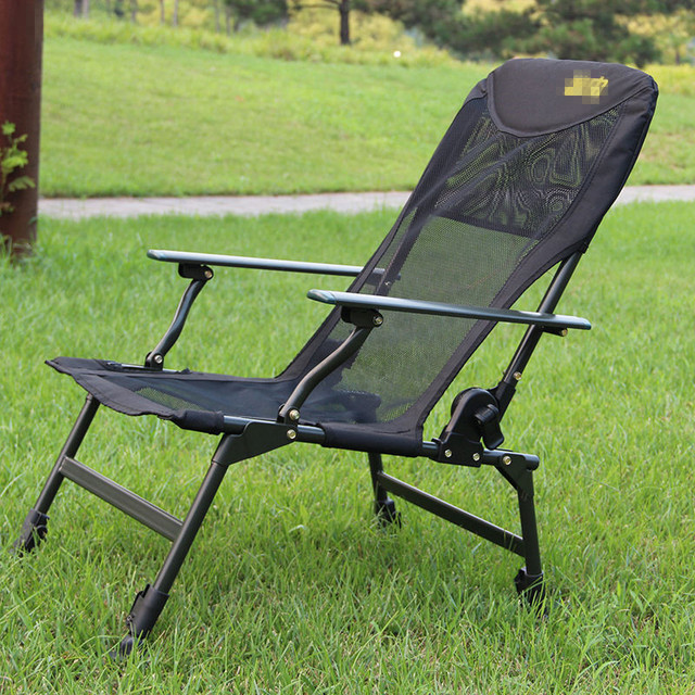 fishing chair with adjustable legs round swivel accent aluminum handrail breathable mesh oxford cloth folding leisure leg lunch break recliner