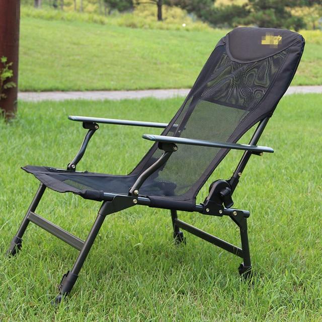 Aluminum Handrail Breathable Mesh Oxford Cloth Folding Chair Fishing Chair  Leisure Adjustable Leg Lunch Break Recliner