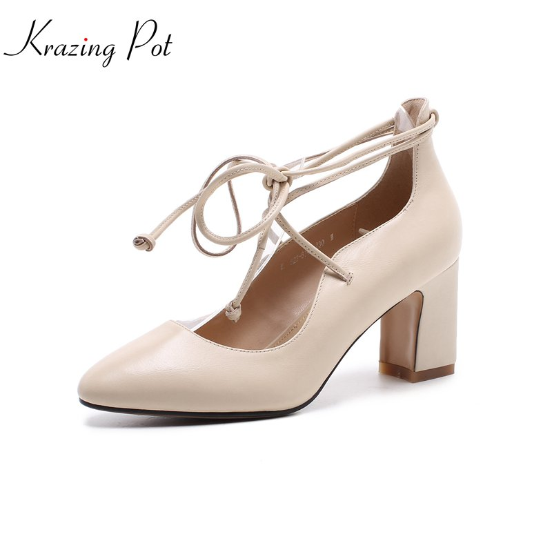 KRAZING POT 2018 full cow leather nightclub party fashion style high heels ankle strap women pumps pointed toe brand shoes L03