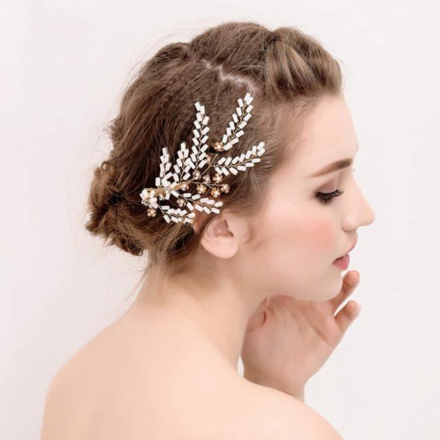 Us 16 1 8 Off Heavy Handmade Crystal Bead Gold Leaf Tiara Wedding Crown Pearl Hair Jewelry Vintage Bridal Tiaras Accessories For Weddings In