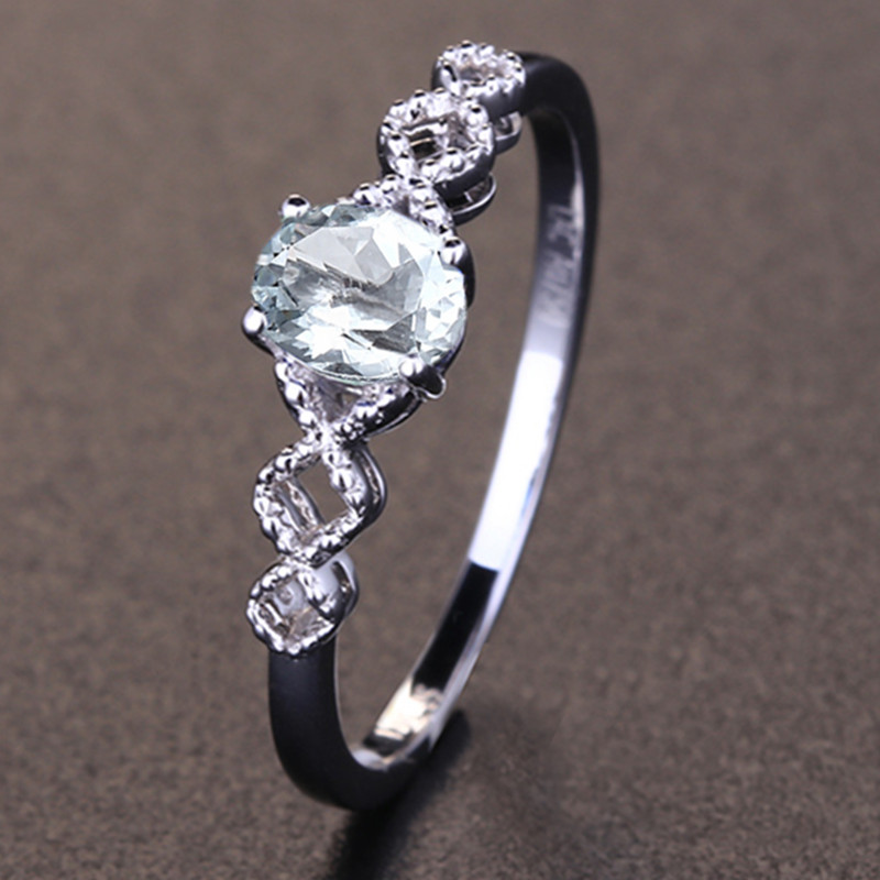 Solid 10k White Gold 5x7mm Oval Natural Aquamarine Engagment Wedding Ring for Women Fine Jewelry Classic Millgrain