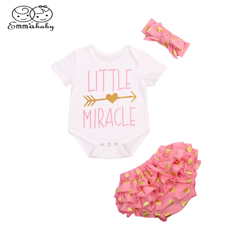 Emmababy Summer Newborn 3PCS Set Clothes InfantCute Baby Girls Short Sleeve Romper Bodysuit+Lace Ruffled Shorts+Headband Set Hot