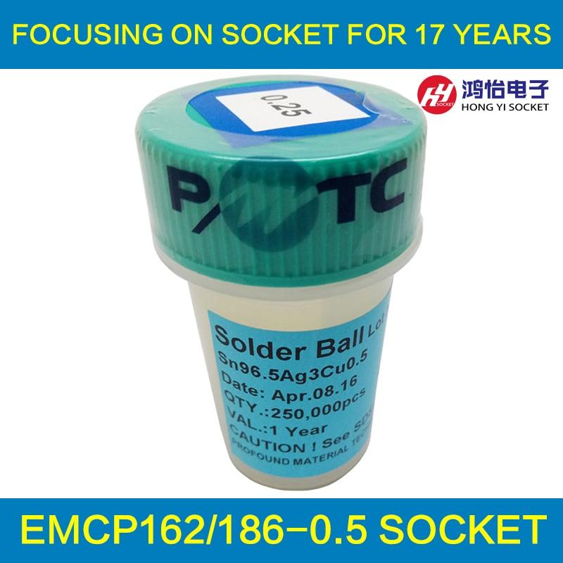 PMTC Pb-Free Solder Balls For eMMC/eMCP Reballing BGA rework 0.25mm 250000pcs Sn96.5 Ag3 Cu0.5 pmtc 250k 0 76mm lead free leaed free solder balls for bga chip reballing
