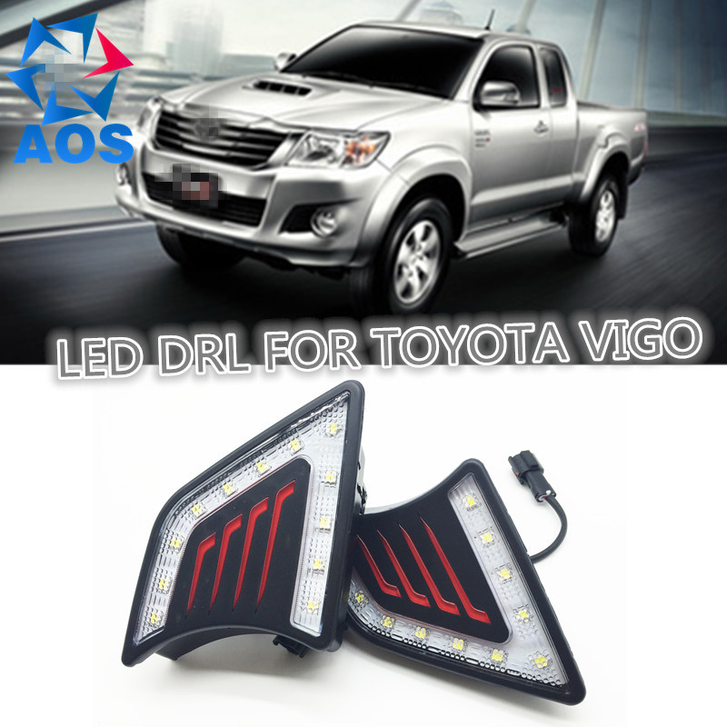 2PCs/set  Super Bright LED DRL waterproof Daylight Daytime Running lights For Toyota Hilux Vigo 2012 2013 2014 2pcs set car styling new led drl waterproof daylight daytime running lights for toyota hilux revo vigo 2015 2016