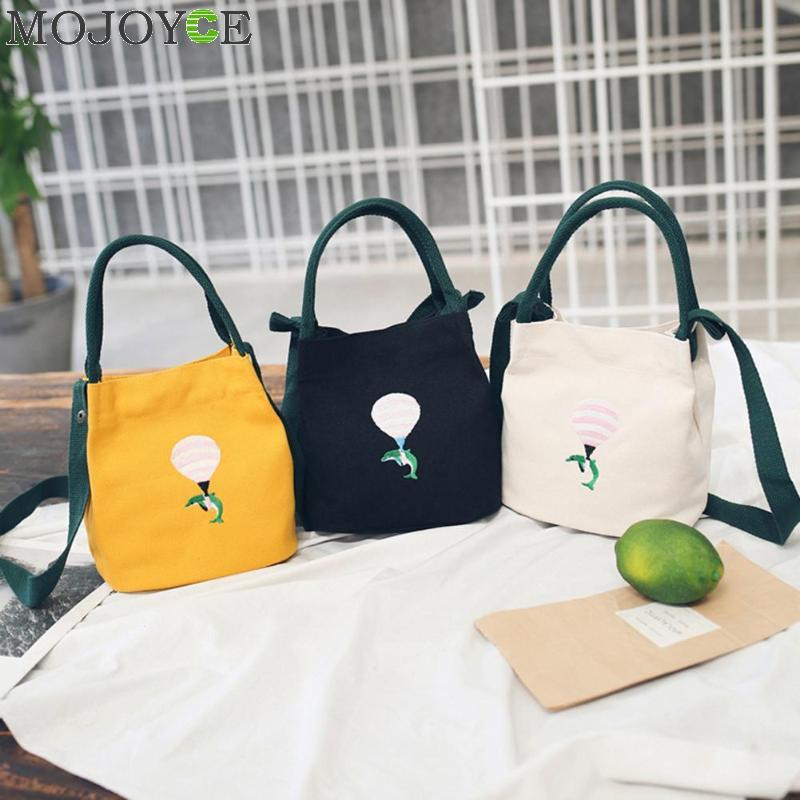 2018 Lady Canvas Handbag Mini Single Shoulder Bag Embroidery Crossbody Messenger Bags Women Bucket Bag Korean Luxury Women Bag