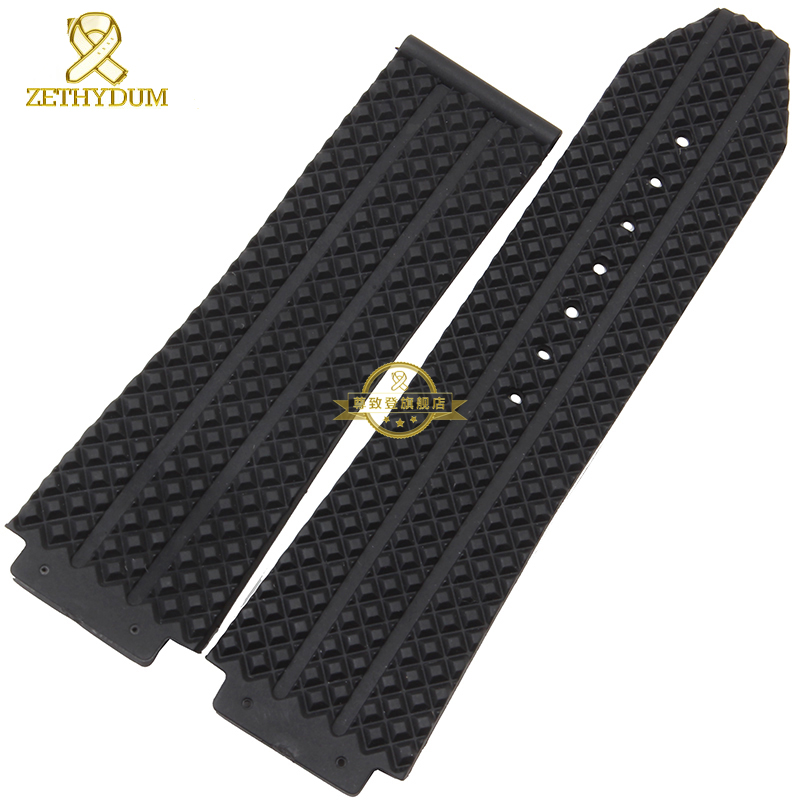все цены на Convex interface Wide Rubber bracelet silicone wristband men watchband 25mm accessories Wrist watch band  wristwatches strap онлайн