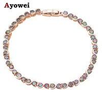 Glittering Mystic Topaz Bracelets For Women Multifulcolor Friendship Bracelets Wholesale Silver Filled Fashion Jewelry TB875A