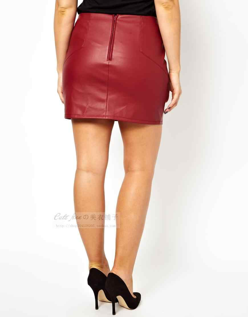 1c8628a943 ... Short Leather Skirts Women Plus Size PU Leather Bodycon Skirt for Ladies  Large Mini Black Red ...